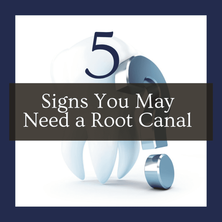 "title banner for ""5 signs you may need a root canal"""